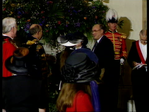 Queen Elizabeth and The Duke of Edinburgh's Golden Wedding Anniversary ITN London Guildhall Lord Mayor of London other officials greeting visitors...