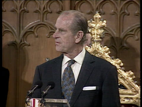 queen elizabeth and the duke of edinburgh's golden wedding anniversary; uk pool england: london: guildhall tgv head of table as prince philip stands... - anniversary stock videos & royalty-free footage