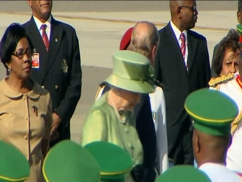 queen elizabeth arrives at piarco international airport at start of her caribbean tour trinidad; 27 november 2009 - visit stock videos & royalty-free footage