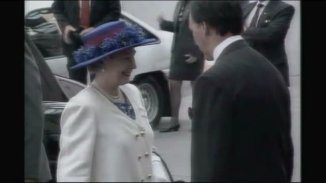 queen elizabeth arrives for first day of official visit february 1992 queen along from car and shakes hands with paul keating keating with his arm... - waist stock videos & royalty-free footage