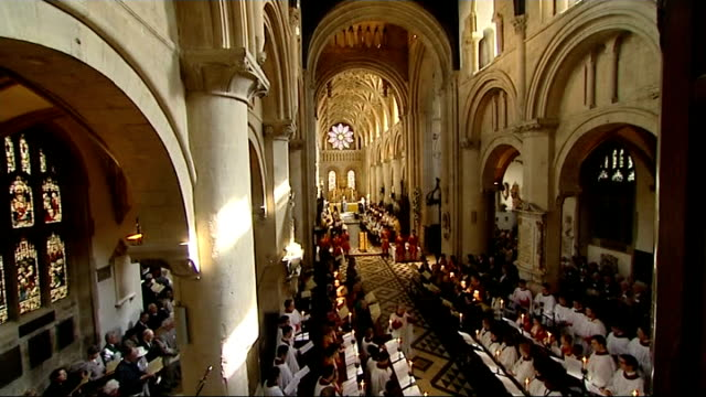 Queen Elizabeth attends Maundy Thursday ceremony in Oxford General views of cathedral congregation / Queen and Philip at front of Cathedral / more of...