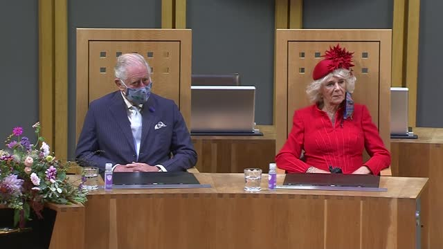 queen elizabeth attends opening of welsh senedd; wales: cardiff: senedd / welsh parliament: int eleri griffiths and oliver edwards davies of the... - literature stock videos & royalty-free footage