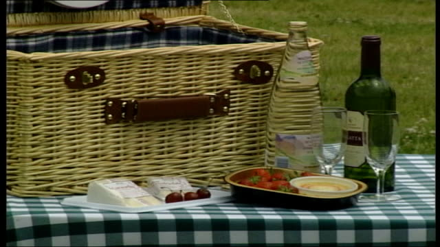 vidéos et rushes de queen elizabeth attends picnic in great windsor park; peter wilkinson pool england: berks: windsor great park: ext gvs people seated at tables having... - panier de pique nique