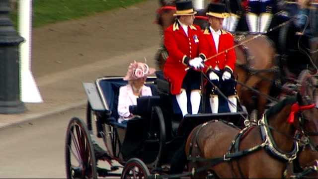 Queen Elizabeth attends Trooping the Colour Prince William arrival in carriage with Camilla Duchess of Cornwall as Natioanl Anthem God Save the Queen...