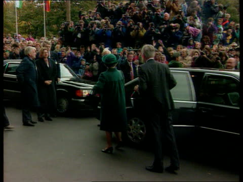 queen elizabeth booed during dresden visit; germany dresden gv church convoy of limos towards queen out of limo with german pres richard von... - clergy stock videos & royalty-free footage