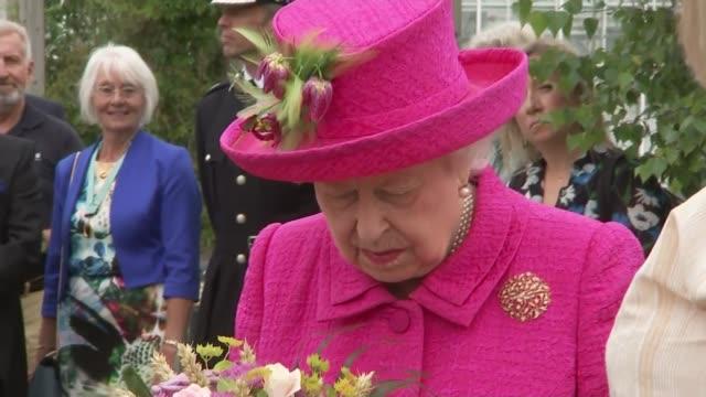 queen elizabeth cambridgeshire visit: queens' college, cambridge university; england: cambridgeshire: histon: national institute of agriculture... - イングランド ケンブリッジ点の映像素材/bロール