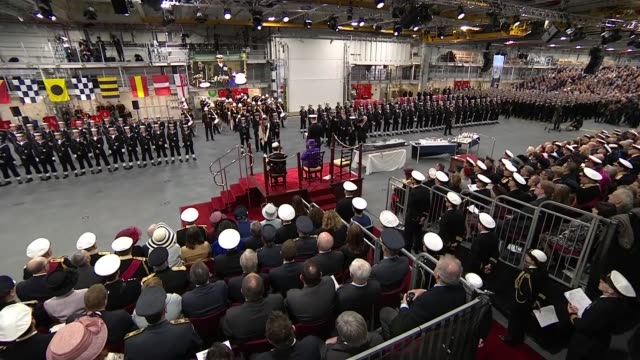 hms queen elizabeth commissioning service main camera multi angles **music heard intermittently sot** hampshire portsmouth hms queen elizabeth int... - marina personale militare video stock e b–roll