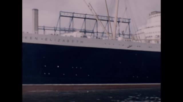 1957 Queen Elizabeth Cruise Ship in Port
