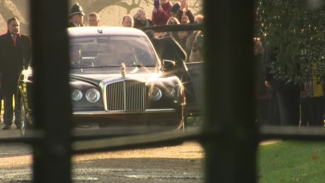 queen elizabeth departing christmas day service at sandringham; england: east anglia: norfolk: sandringham: st mary magdalene church: ext queen... - sophie rhys jones, countess of wessex stock videos & royalty-free footage