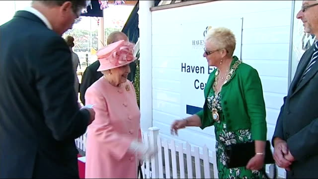 Queen Elizabeth Diamond Jubilee Tour ends in Isle of Wight GV Queen along on small boat / GV Queen steps off boat at Haen Events Centre onto red...