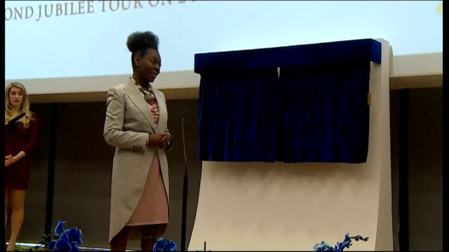 exeter university unveiling ceremony floella benjamin speech sot/ queen elizabeth unveils plaque to officially open exeter university forum centre/... - floella benjamin stock videos & royalty-free footage
