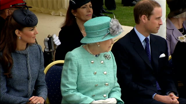 queen elizabeth diamond jubilee tour: nottingham: vernon park; stanhope school choir perform song sot/ cutaways of queen elizabeth, duke and duchess... - royal tour stock videos & royalty-free footage