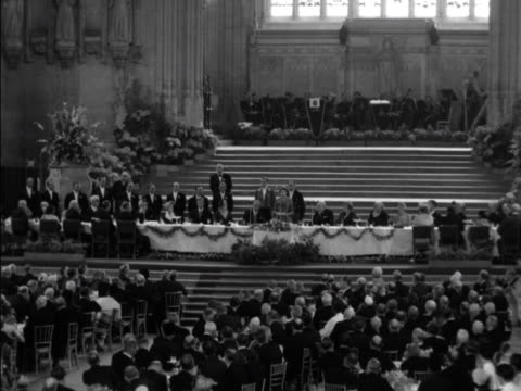 Queen Elizabeth gives a speech during a Commonwealth Parliamentary Association luncheon at Westminster Hall 1953