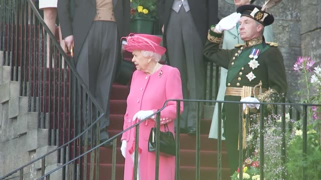 queen elizabeth hosts annual garden party at palace of holyroodhouse scotland edinburgh queen elizabeth ii hosts annual garden party at holyrood... - music stand stock videos & royalty-free footage