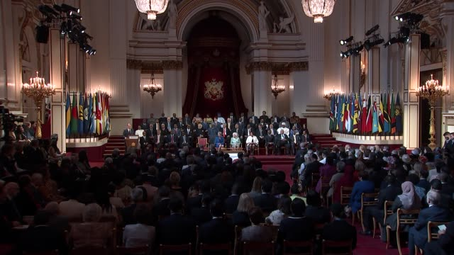 queen elizabeth hosts opening ceremony for commonwealth heads of government dr joseph muscat speech sot world is in a different place/ commonwealth... - leader stock videos and b-roll footage