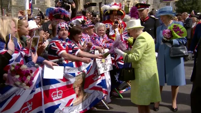 queen elizabeth ii 90th birthday: events; crowd cheer queen elizabeth during walkabout as military band rendition of 'happy birthday' ends/ crowds... - queen's birthday stock videos & royalty-free footage