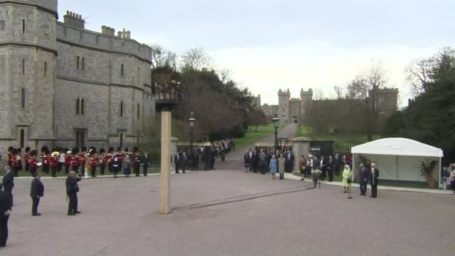 events england berkshire windsor windsor castle / windsor park ext prince charles prince of wales accompanied by camilla duchess of cornwall kisses... - 90th birthday stock videos and b-roll footage