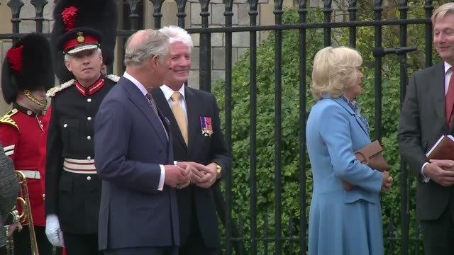 windsor beacon lit england berkshire windsor ext prince charles and camilla chatting with people / queen's car along / queen elizabeth ii and prince... - 90th birthday stock videos and b-roll footage