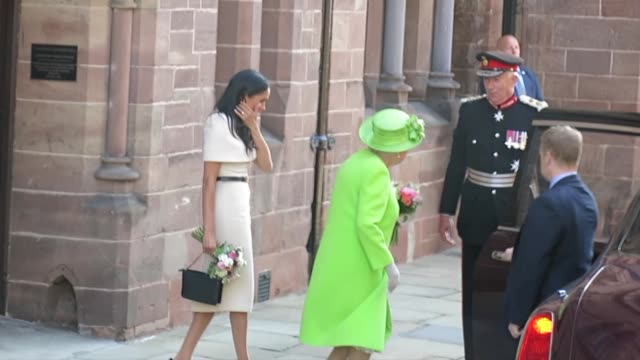 queen elizabeth ii and meghan duchess of sussex leaving chester town hall on june 14 2018 in chester england meghan markle married prince harry last... - elizabeth ii stock videos & royalty-free footage