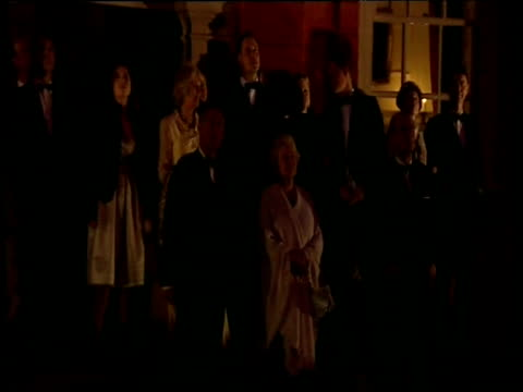 queen elizabeth ii and members of royal family watch firework display in celebration of queen's 80th birthday kew palace; 21 apr 06 - british royalty stock videos & royalty-free footage