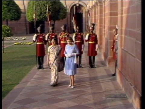 queen elizabeth ii and prime minister indira gandhi talk for press in garden new delhi nov 83 - indira gandhi stock videos & royalty-free footage