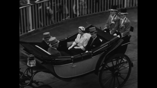 queen elizabeth ii and prince philip, duke of edinburgh, arrive in carriage at the royal ascot horse race in ascot, england, on 6/18/53 / 6/17/53:... - horse family stock videos & royalty-free footage