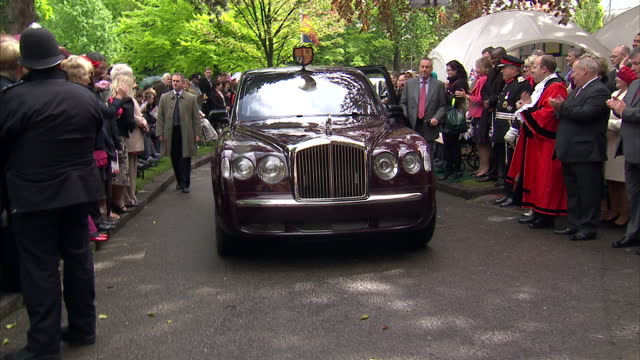 Queen Elizabeth II and Prince Philip Duke of Edinburgh visiting Richmond Park as part of Diamond Jubilee celebrations Exterior shots of royal...