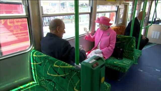 queen elizabeth ii and prince philip visit melbourne australia melbourne photography * * long shot of queen elizabeth ii boarding royal tram with... - nurse waving stock videos & royalty-free footage