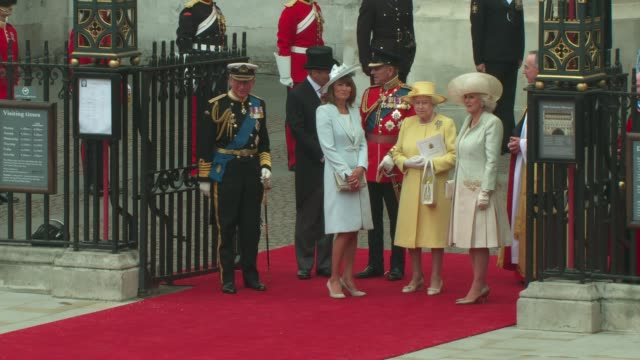 Queen Elizabeth II and Prince Phillip Duke of Edinburgh Prince Charles Prince of Wales and Camilla Duchess of Cornwall leaving Westminster Abbey