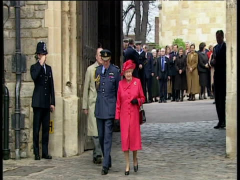 queen elizabeth ii and prince phillip emerge through gate of windsor castle on queen's 80th birthday as band plays 'happy birthday' windsor; 21 apr 06 - british royalty stock videos & royalty-free footage
