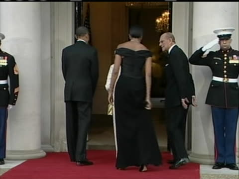 queen elizabeth ii and prince phillip meet president obama and the first lady at the winfield house in london; where they are holding a dinner for... - healthcare and medicine or illness or food and drink or fitness or exercise or wellbeing stock videos & royalty-free footage