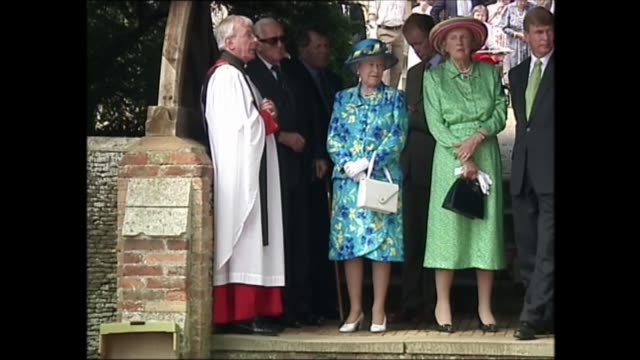 queen elizabeth ii and the queen mother attend church on sandringham estate england norfolk sandringham estate ext queen elizabeth stands looking on... - queen dowager stock videos & royalty-free footage