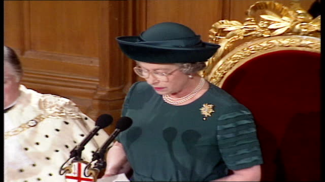 queen elizabeth ii 'annus horribilis' speech at london guildhall; england: london: guildhall: queen elizabeth ii speech sot - there can be no doubt,... - town hall stock videos & royalty-free footage