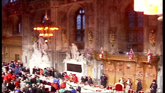 queen elizabeth ii 'annus horribilis' speech at london guildhall; england: london: guildhall: more guest and dignitaries arrivals / john smith mp... - town hall stock videos & royalty-free footage