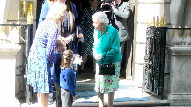 queen elizabeth ii at drapers' hall on may 31, 2017 in london, england. - königin elisabeth ii. von england stock-videos und b-roll-filmmaterial