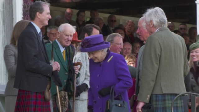 queen elizabeth ii at the opening ceremony of the highland games in aberdeenshire - raw footage stock videos & royalty-free footage