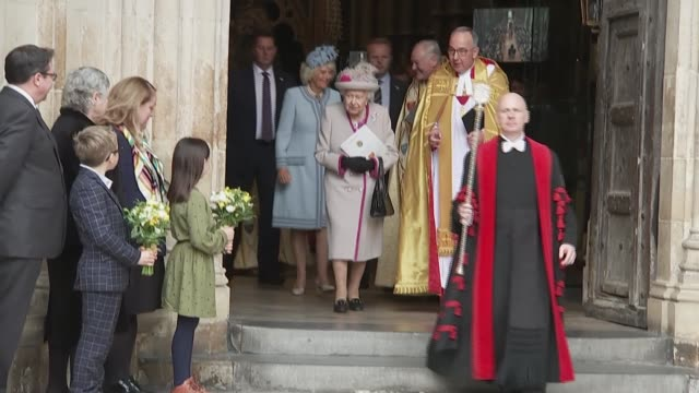 queen elizabeth ii attends the westminster abbey 750th anniversary service england london westminster westminster abbey ext press photographers /... - photographer stock videos & royalty-free footage