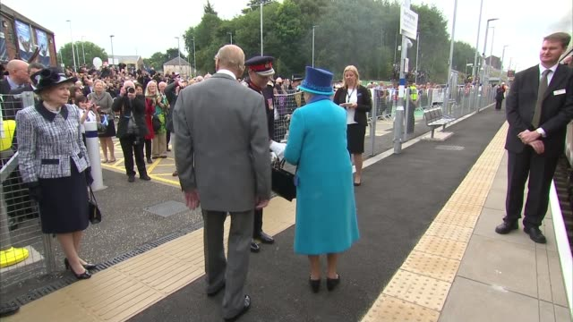 Queen Elizabeth II becomes longest reigning monarch Queen train journey **band playing SOT** Queen and Prince Philip onto train