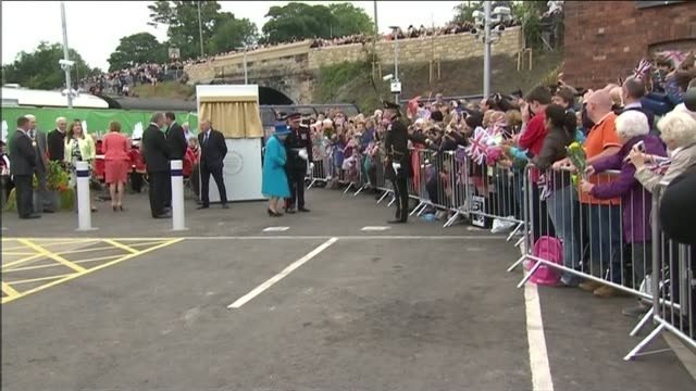 Queen Elizabeth II becomes longest reigning monarch View from train Newtongrange Station EXT Queen Prince Philip and Sturgeon off train / Queen...