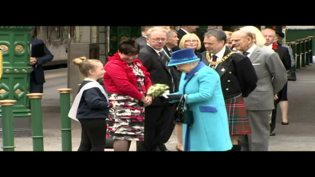 Queen Elizabeth II becomes longest reigning monarch Visit to Waverley Station Queen Elizabeth II and Prince Phillip Duke of Edinburgh out of car and...
