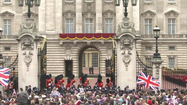 queen elizabeth ii, camilla, duchess of cornwall, prince charles, prince of wales, prince william, duke of cambridge, catherine, duchess of cambridge... - diamond jubilee stock videos & royalty-free footage