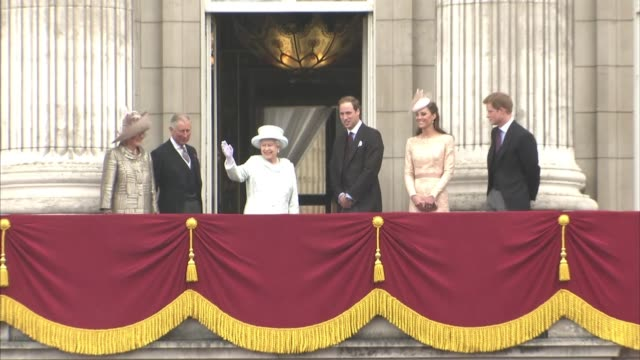 queen elizabeth ii, camilla, duchess of cornwall, prince charles, prince of wales, catherine, duchess of cambridge, prince william, duke of cambridge... - diamond jubilee stock videos & royalty-free footage