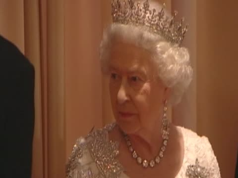 queen elizabeth ii greets quests at a state dinner in her honour during royal tour of canada - state dinner stock videos and b-roll footage