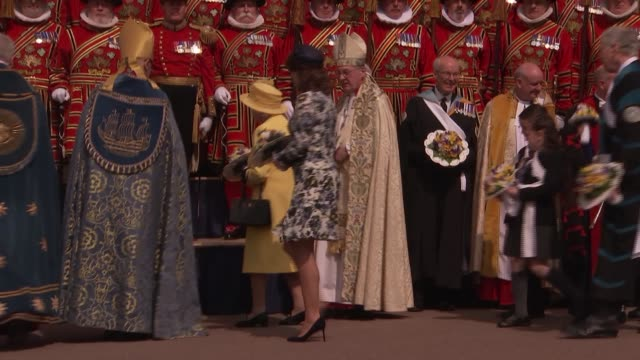 queen elizabeth ii hands out maundy money at st george's chapel windsor england berkshire windsor windsor castle st george's chapel ext yeoman... - st. george's chapel stock videos & royalty-free footage
