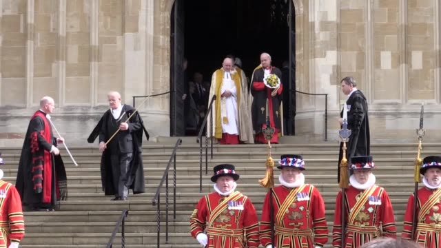 queen elizabeth ii holding a nosegay outside st george's chapel in windsor after attending the royal maundy service - st. george's chapel stock videos and b-roll footage