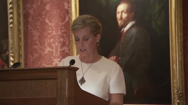 queen elizabeth ii hosts diamond jubilee trust reception; england: london: buckingham palace: int **some flash photography** sophie, countess of... - sophie rhys jones, countess of wessex stock videos & royalty-free footage