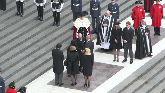 Queen Elizabeth II Mark Thatcher Carol Thatcher and Amanda Thatcher at Baroness Thatcher Funeral St Paul's Cathedral High at St Paul's Cathedral on...