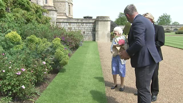 queen elizabeth ii presented with rose at windsor castle by the royal horticultural society on the eve of what would have been prince philip's 100th... - royal horticultural society stock-videos und b-roll-filmmaterial