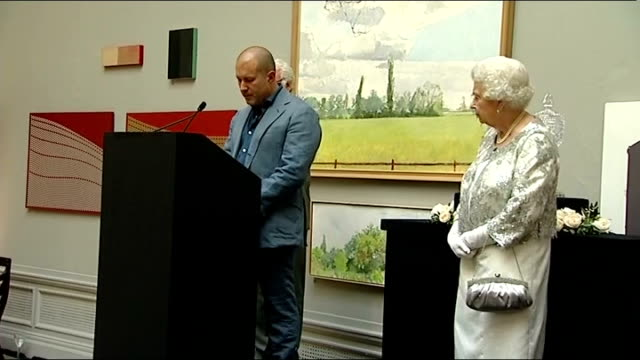 queen elizabeth ii presents diamond jubilee awards; sir jonathan ive onto stage to applause and speaking sot / queen presenting scroll / alan yentob... - choir stock videos & royalty-free footage