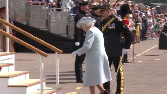Queen Elizabeth II presents new Standard to the Royal Scots Dragoon Guards SCOTLAND Fife Leuchars Station EXT GVs Royal Scots Dragoon Guards with new...